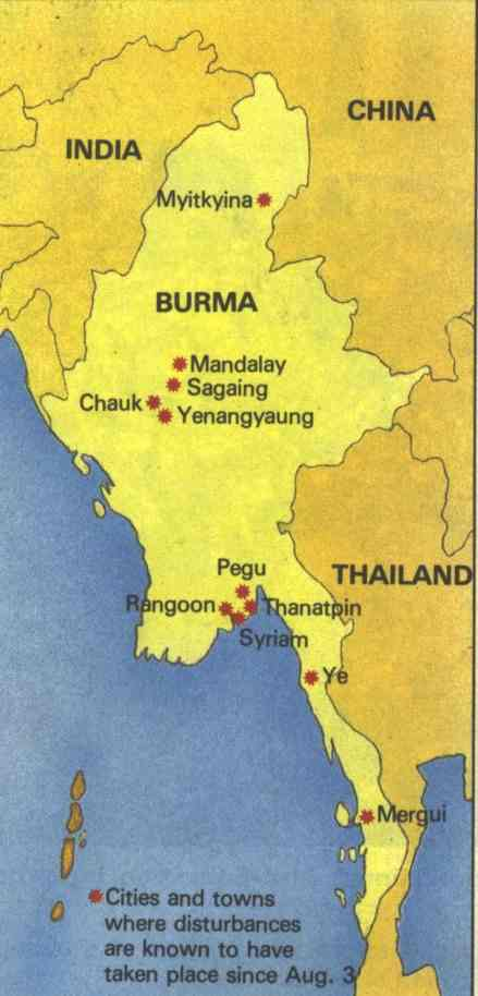 Burma map, Towns in protest 1988